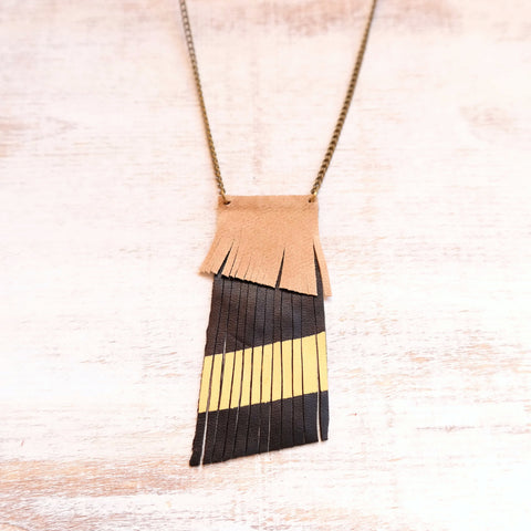 Sun Aura Quartz Point Necklace With Leather