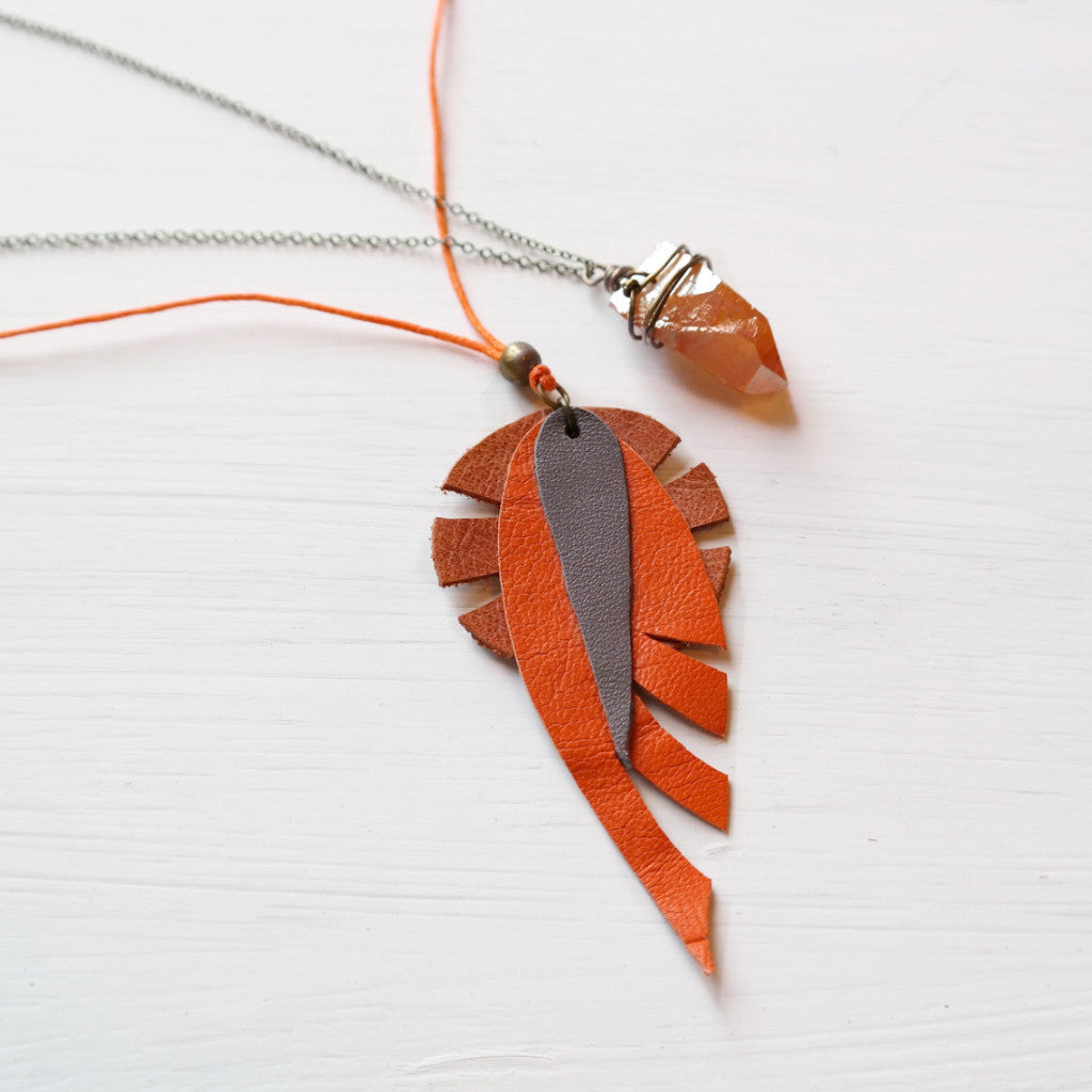 Leaf Leather Necklace - Gypsy Soul Jewellery  - 1