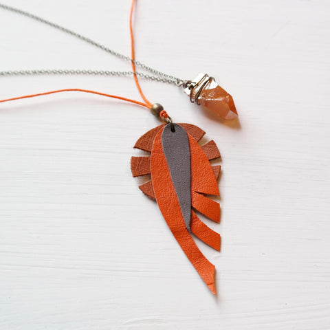 Leather Dreamcatcher Necklace with Bamboo Coral