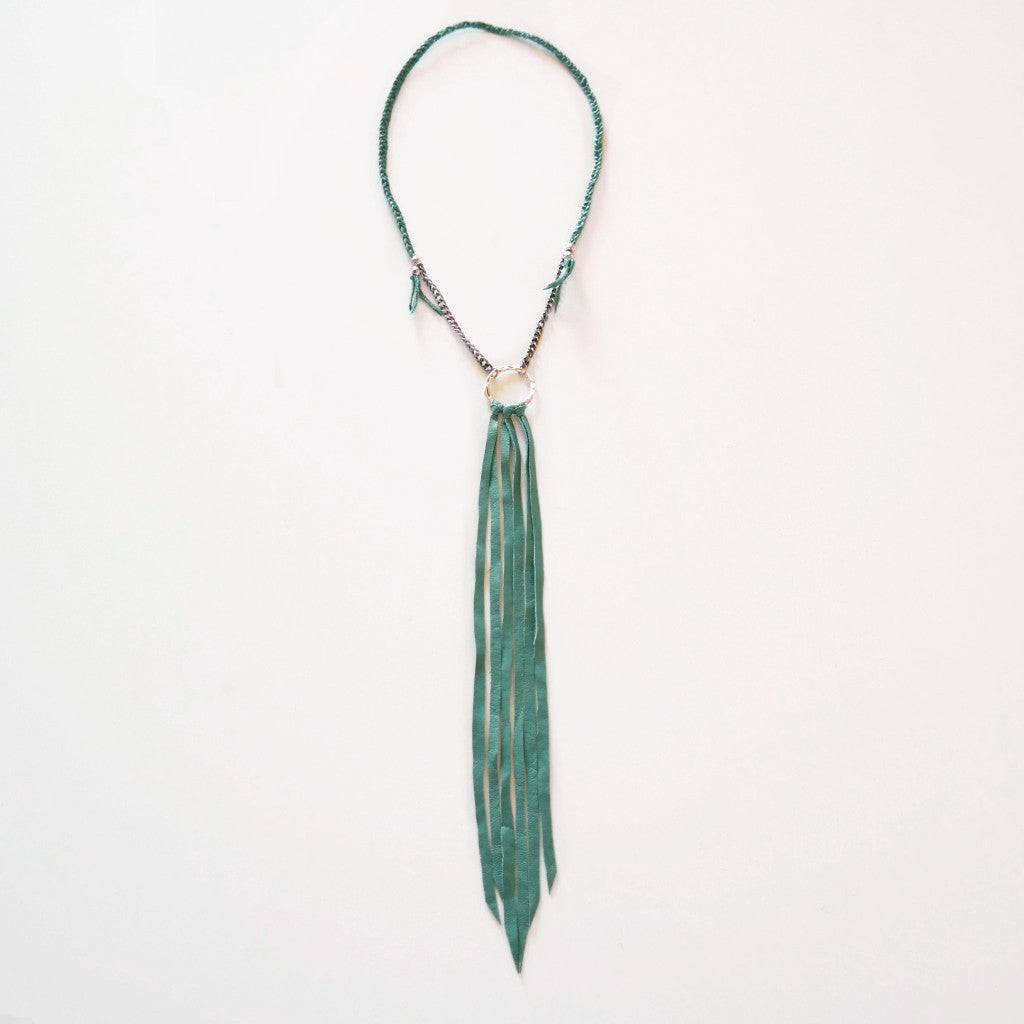 Ultra Long Karma Leather Fringe Necklace - Gypsy Soul Jewellery  - 1
