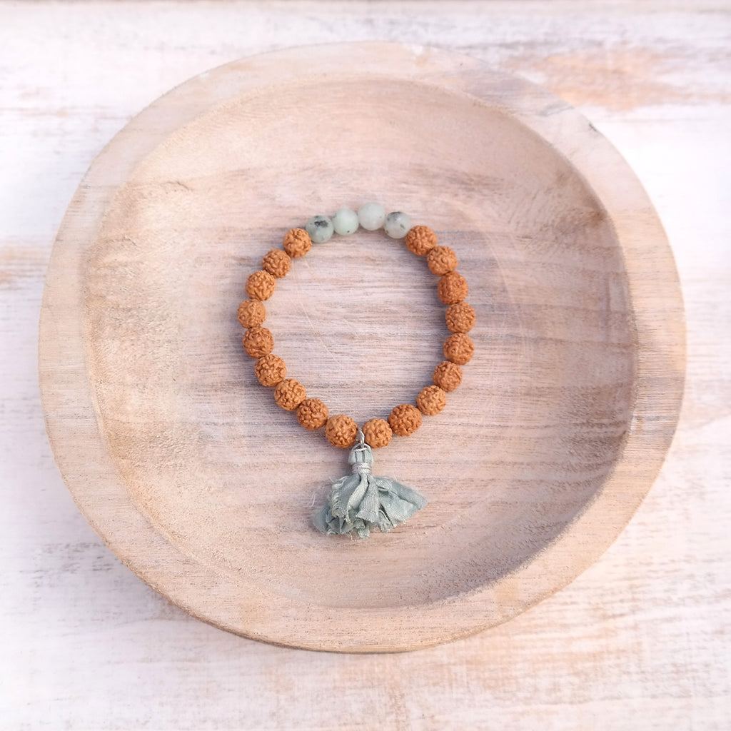 Lotus Jasper Bracelet with Rudraksha Seeds - Peace Bracelet
