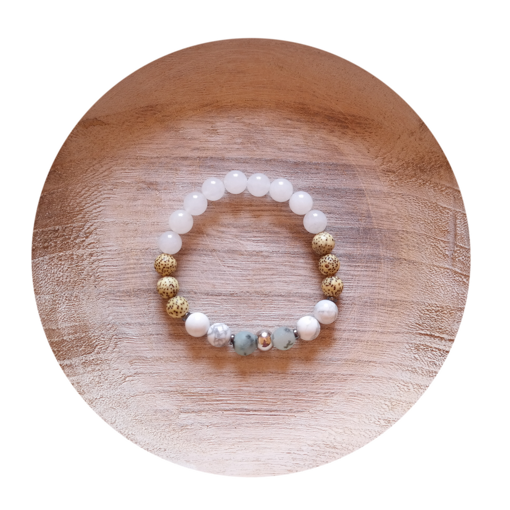 "Snow Quartz Bracelet ""Calming Clarity"" Energy Bracelet"