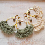 Gold Hoop Earrings with Macramé & Pyrite