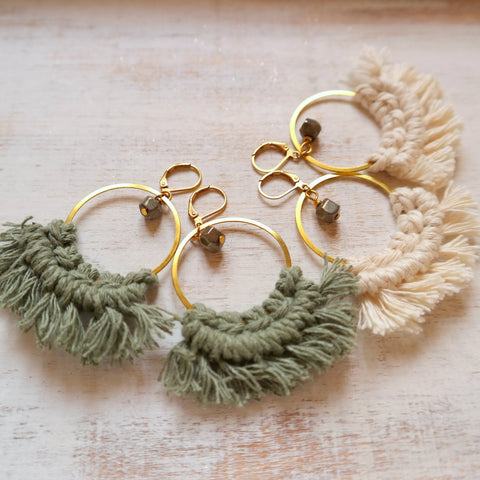 Geometric Earrings with Tassels
