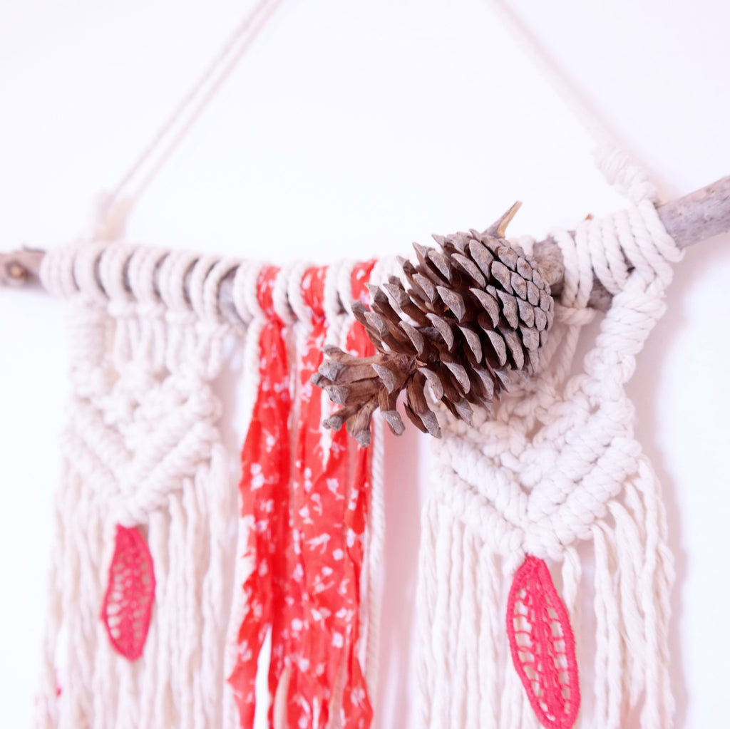 Macrame Wall Hanging with Red Fabric and Feathers - Gypsy Soul Jewellery  - 2