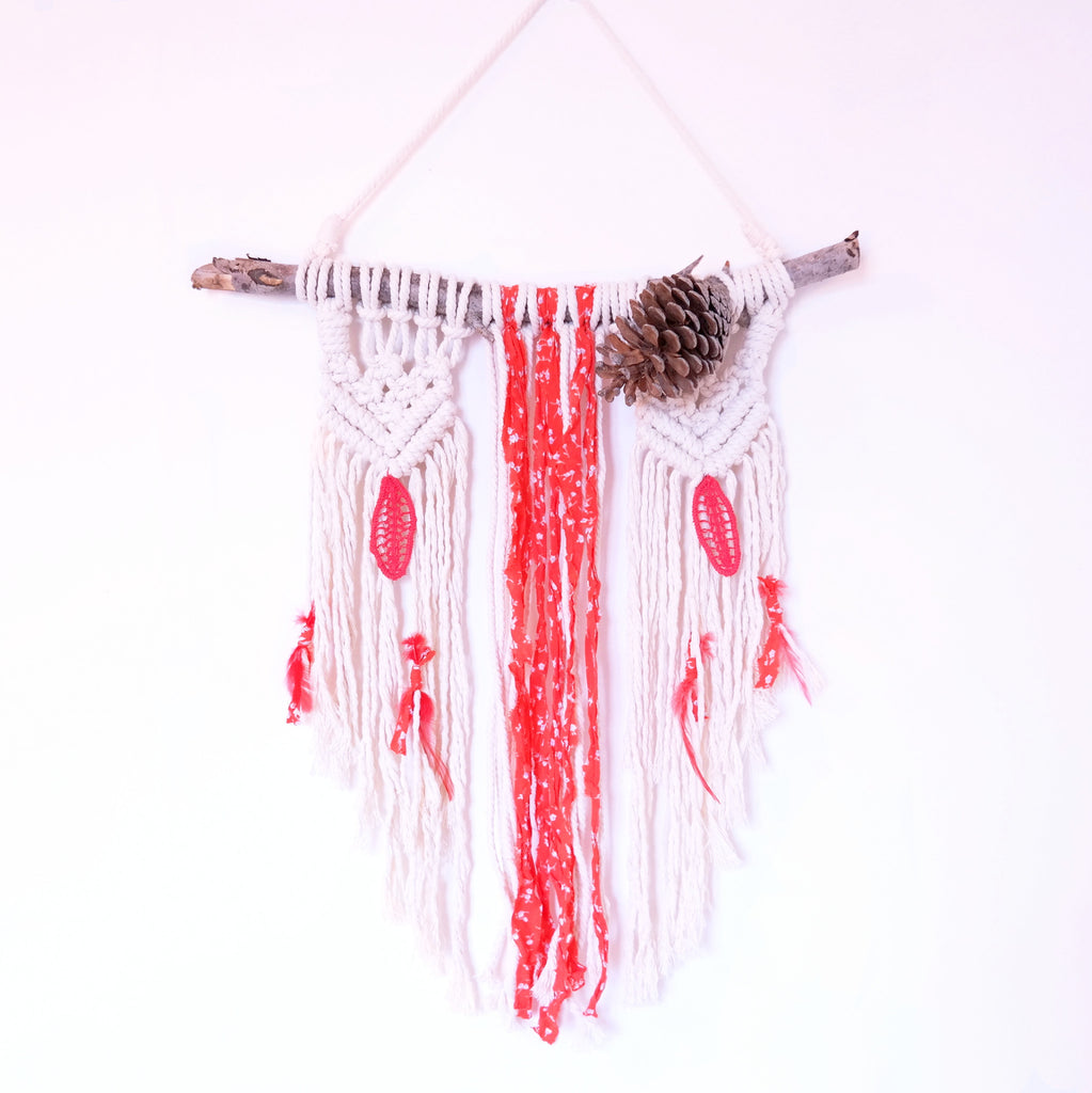 Macrame Wall Hanging with Red Fabric and Feathers - Gypsy Soul Jewellery  - 1