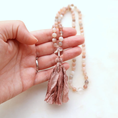 Pink Zebra Jasper Mala - Grounded Mala