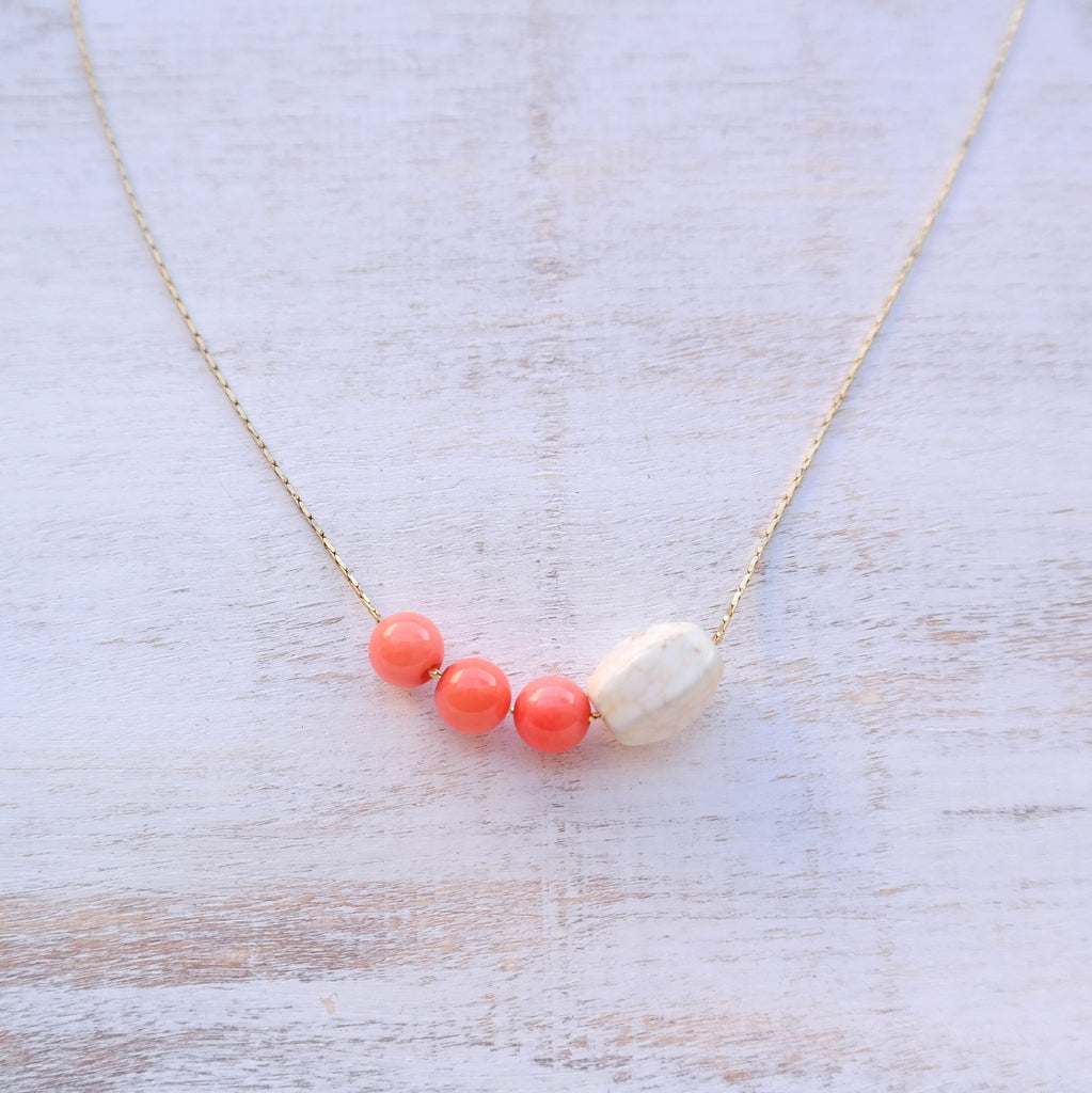 Gold Pink Coral Necklace And White Turquoise - Gypsy Soul Jewellery  - 2