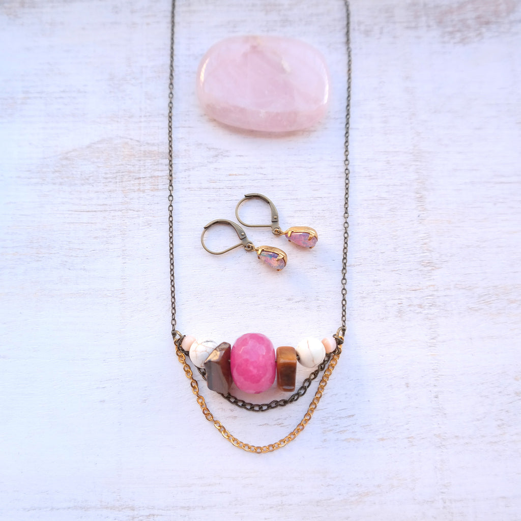 Pink Jade Necklace - Gypsy Soul Jewellery  - 1