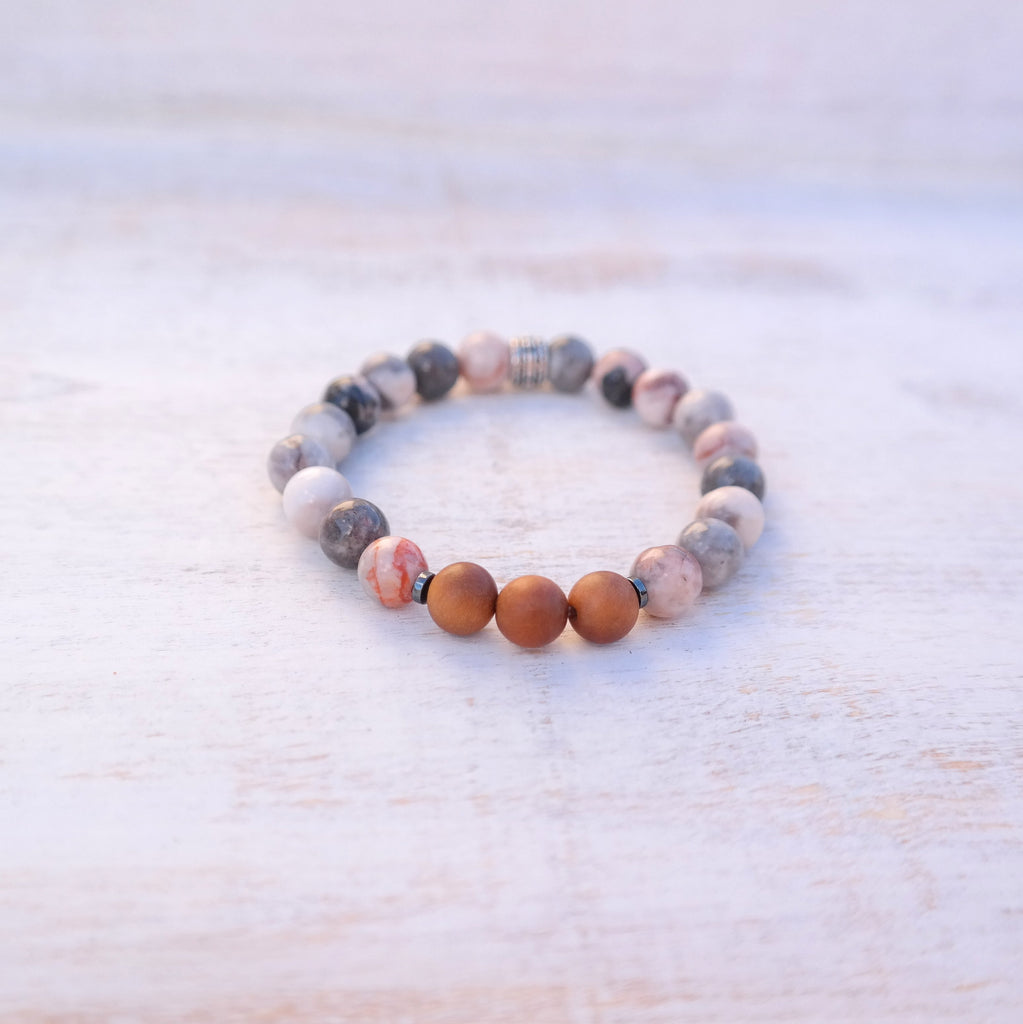 Pink Zebra japser bracelet with sandalwood - Grounded Bracelet