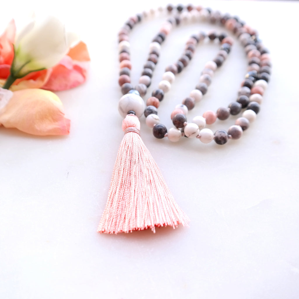 Pink Zebra Jasper Mala Beads - Grounded Mala Necklace