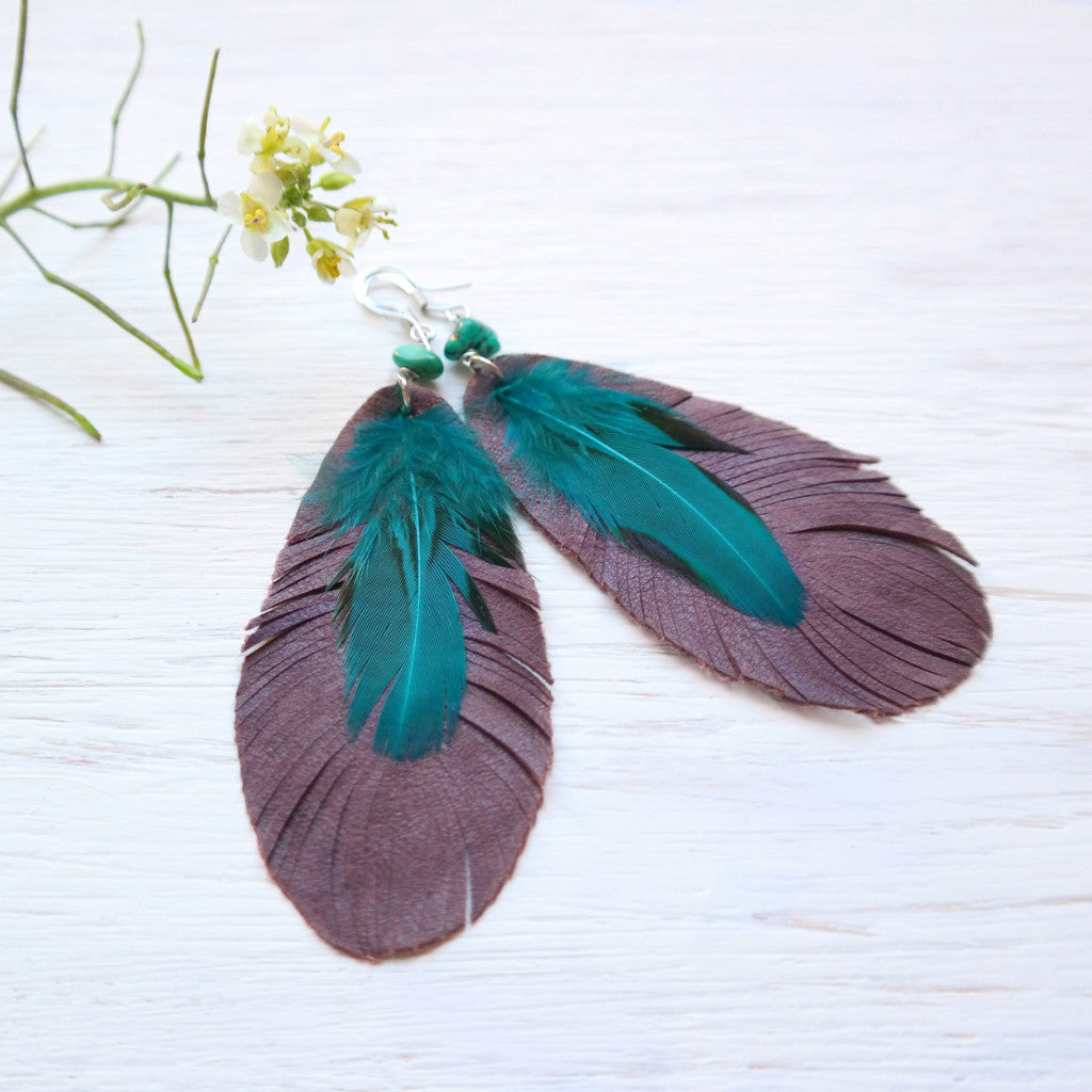 Leather and Feather Earrings with Turquoise - Gypsy Soul Jewellery  - 3