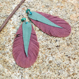 Leather and Feather Earrings with Turquoise - Gypsy Soul Jewellery  - 2