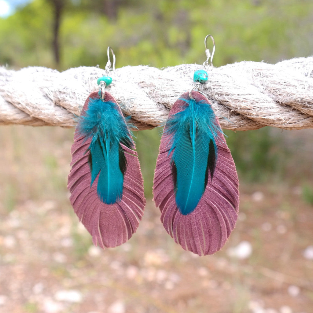 Leather and Feather Earrings with Turquoise - Gypsy Soul Jewellery  - 4