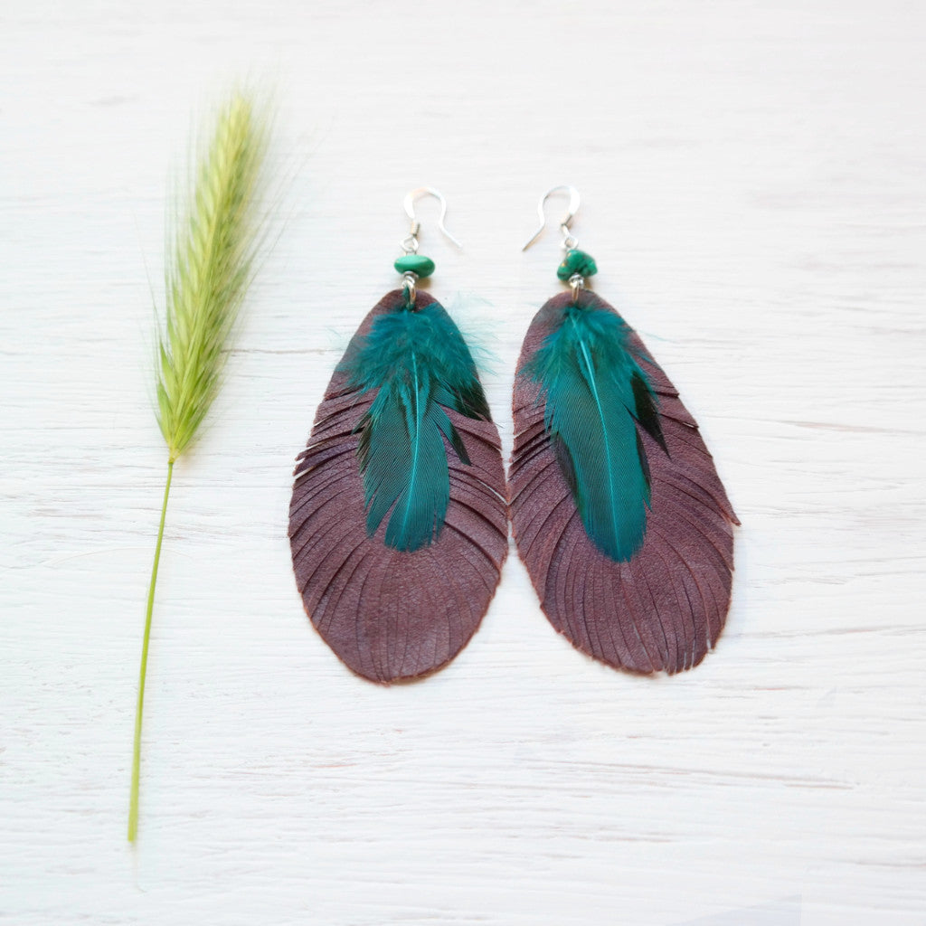 Leather and Feather Earrings with Turquoise - Gypsy Soul Jewellery  - 1