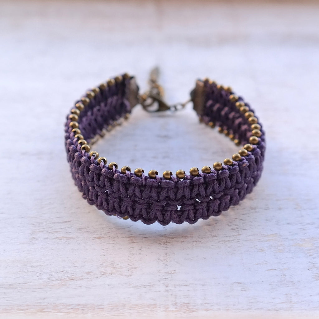 Embroidered Macrame Bracelet with Beads - Gypsy Soul Jewellery  - 4