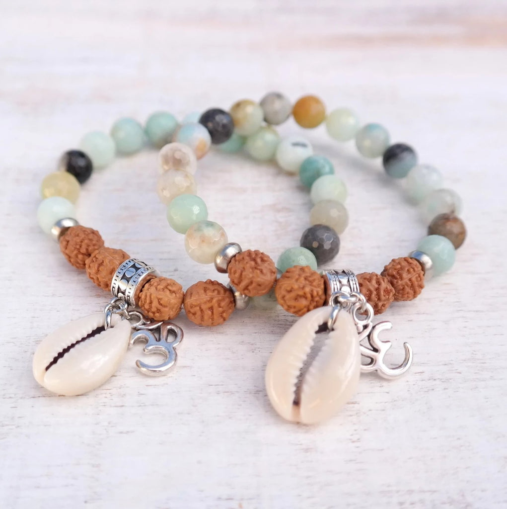 Cowrie Shell Bracelet with Amazonite and Rudraksha