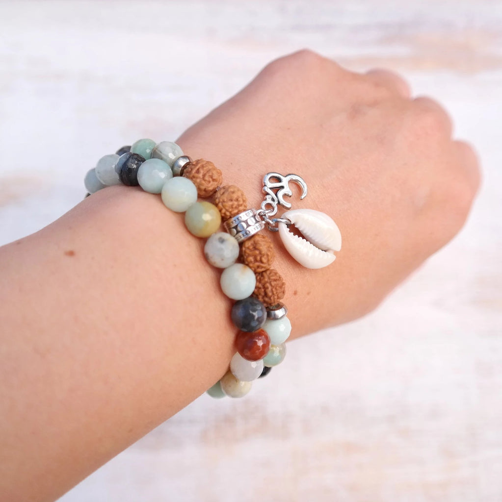Cowrie Shell Bracelet with Om Charm and Amazonite and Rudraksha