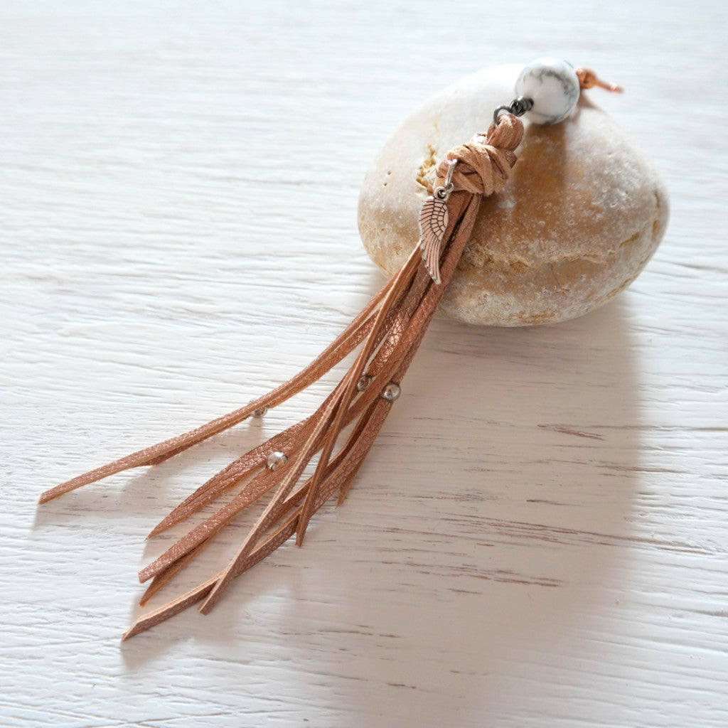 Rose Gold Leather Bag Pendant with Howlite - Gypsy Soul Jewellery  - 2
