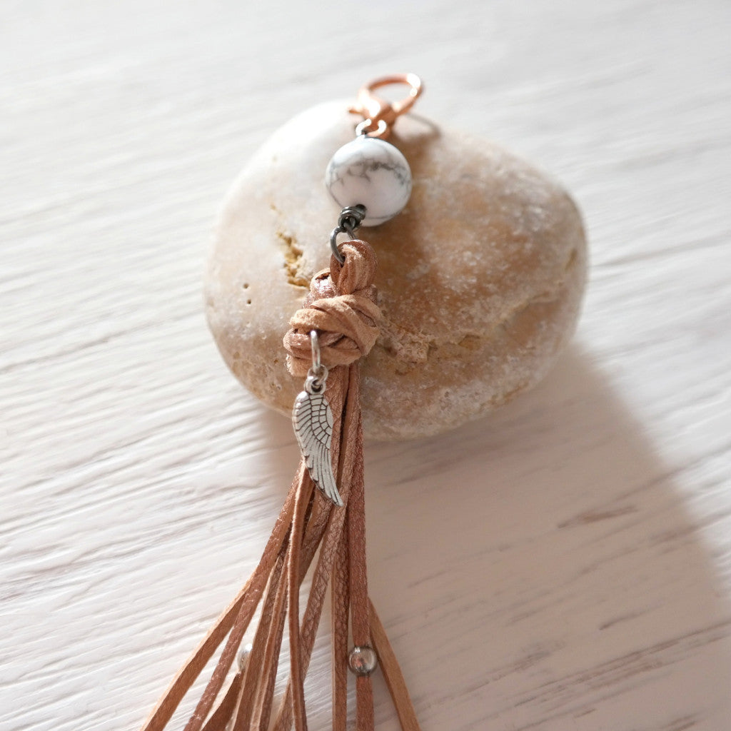 Rose Gold Leather Bag Pendant with Howlite - Gypsy Soul Jewellery  - 3