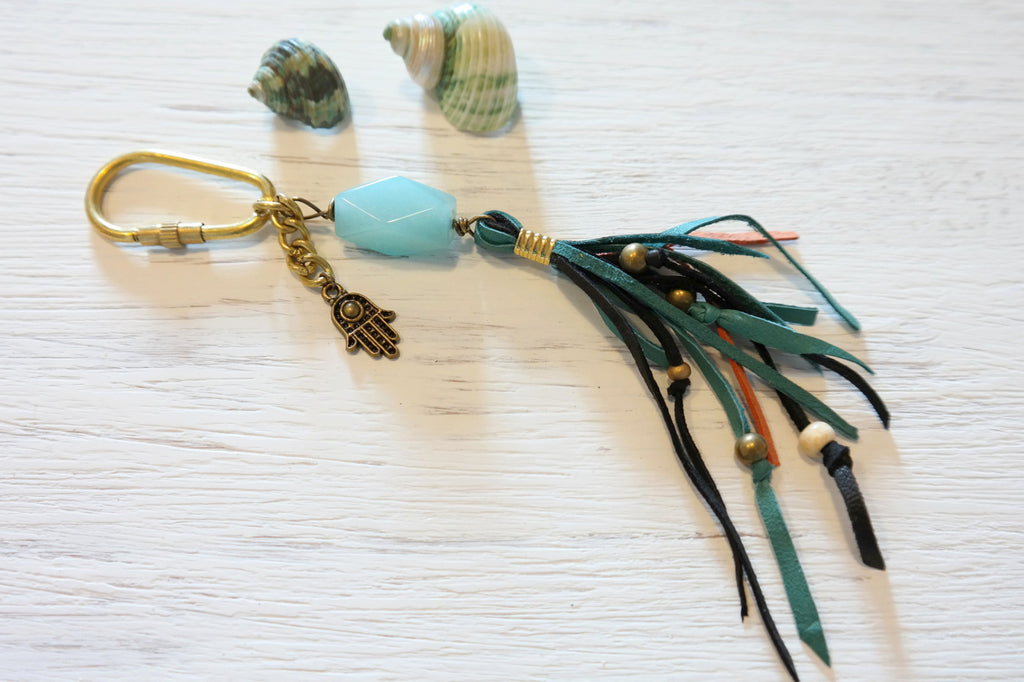 Boho Leather Fringe Bag Pendant with Aquamarine - Gypsy Soul Jewellery  - 2