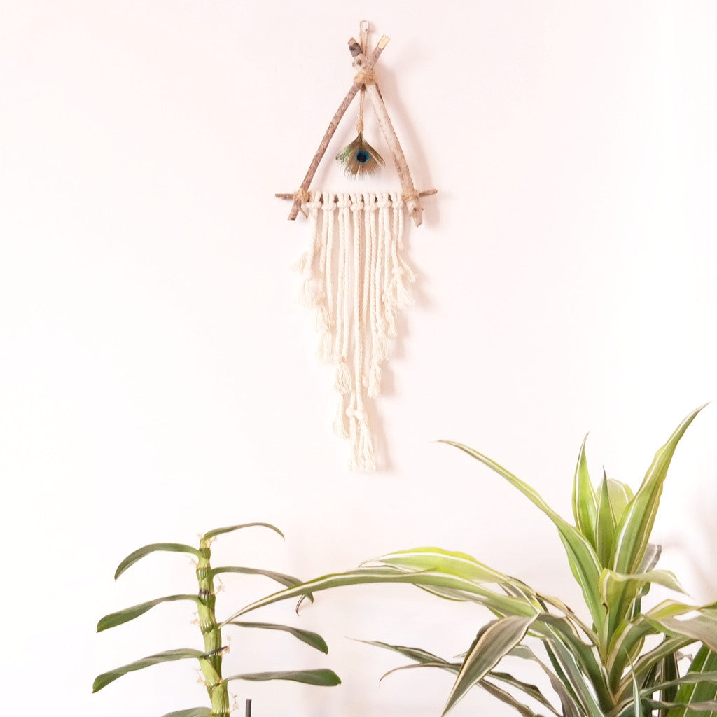 Driftwood Wall Hanging with Peacock Feather - Gypsy Soul Jewellery  - 2