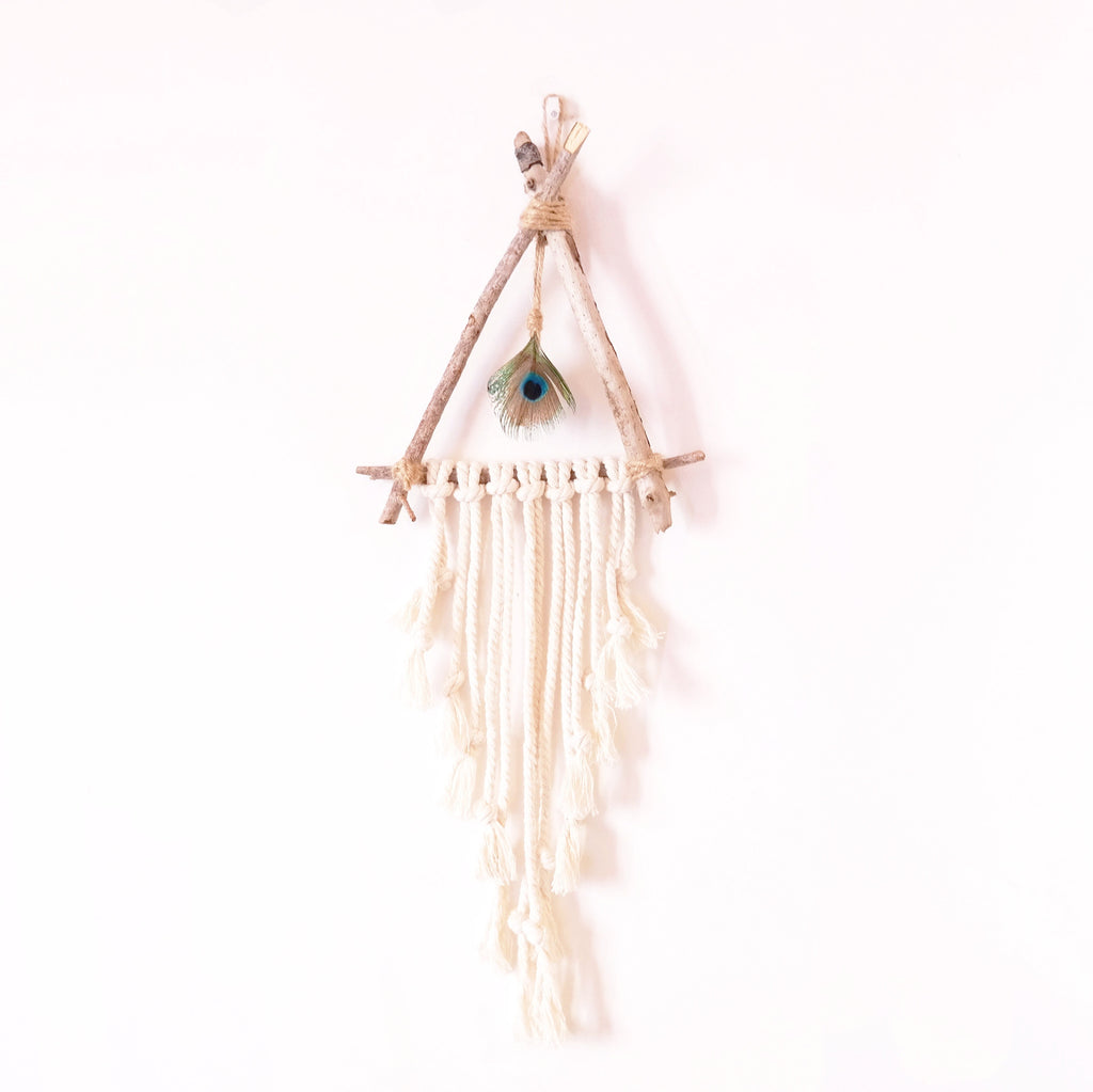 Driftwood Wall Hanging with Peacock Feather - Gypsy Soul Jewellery  - 1
