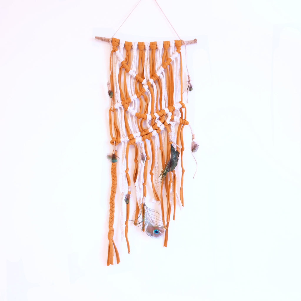 Macramé Wall Hanging with Peacock Feathers - Gypsy Soul Jewellery  - 1