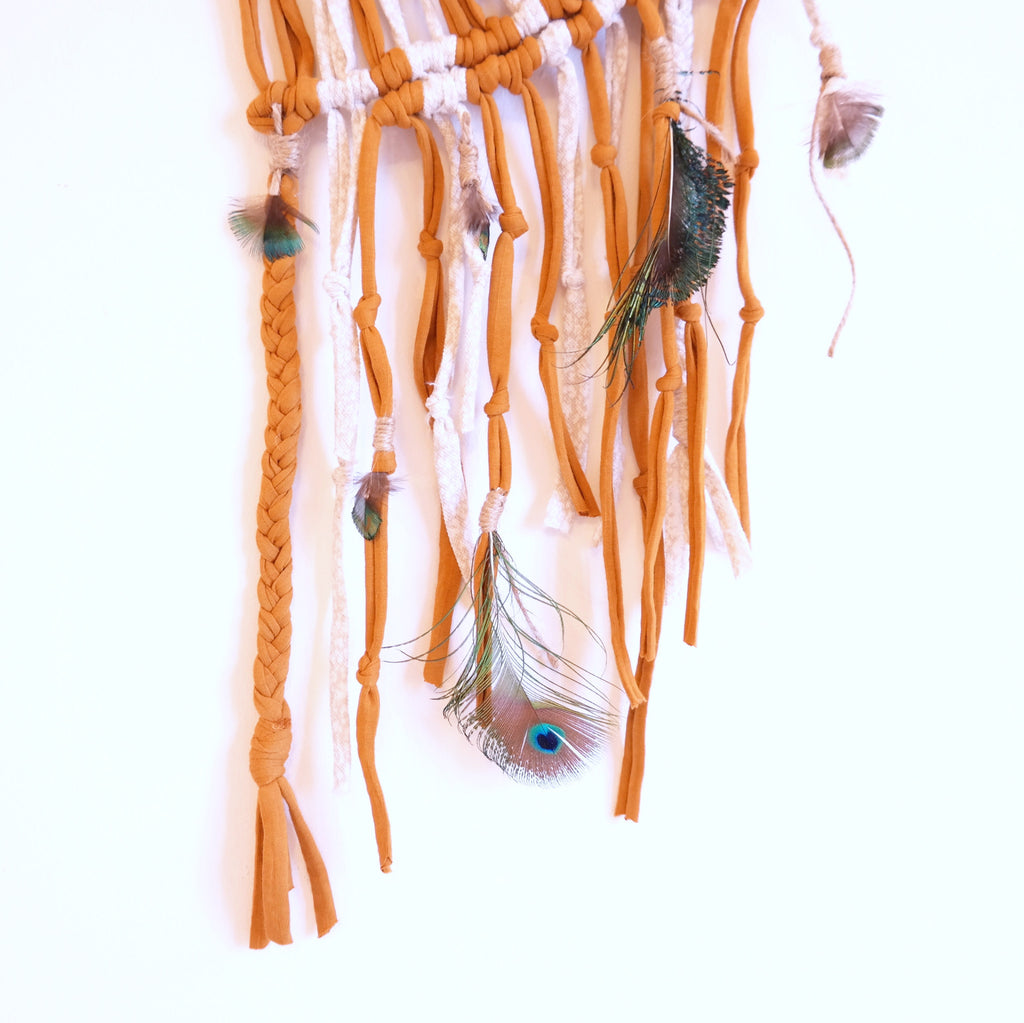 Macramé Wall Hanging with Peacock Feathers - Gypsy Soul Jewellery  - 2