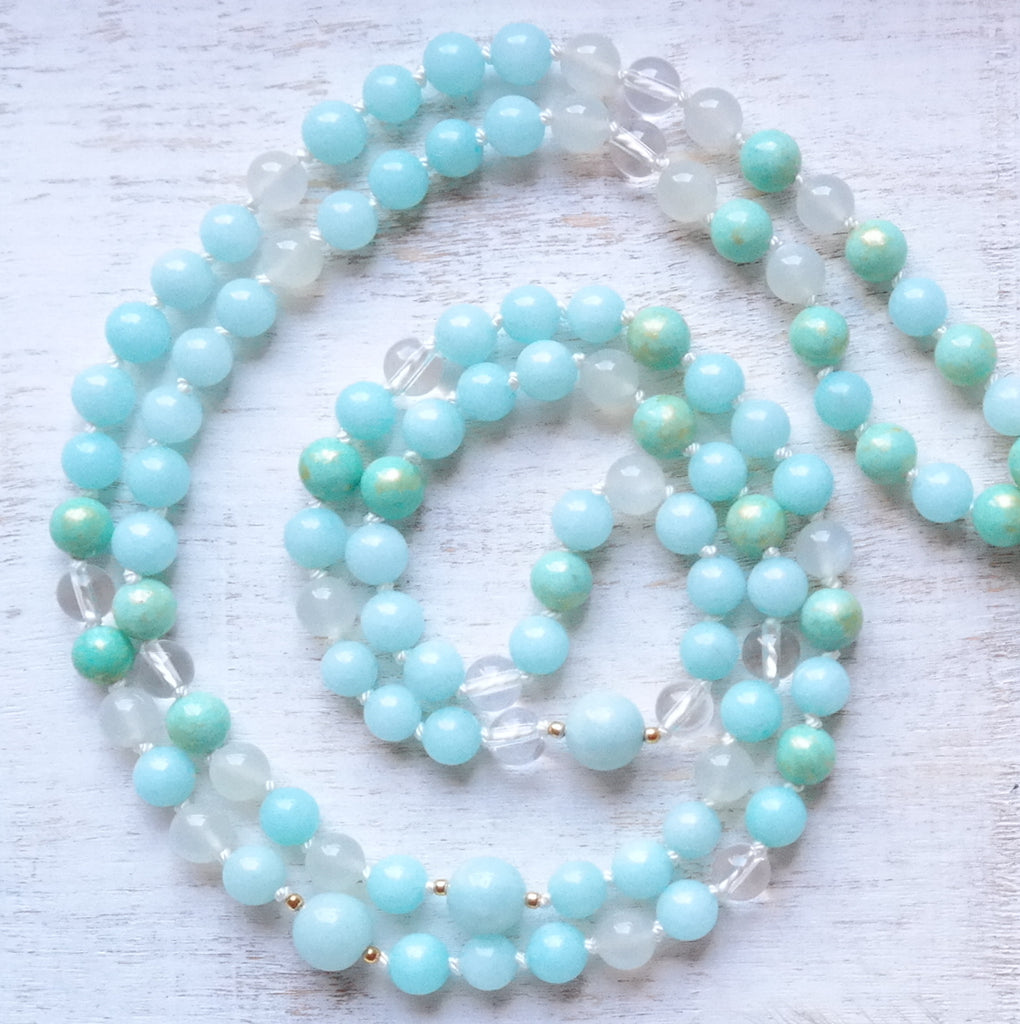 Aquamarine Mala Necklace  - Courage Mala