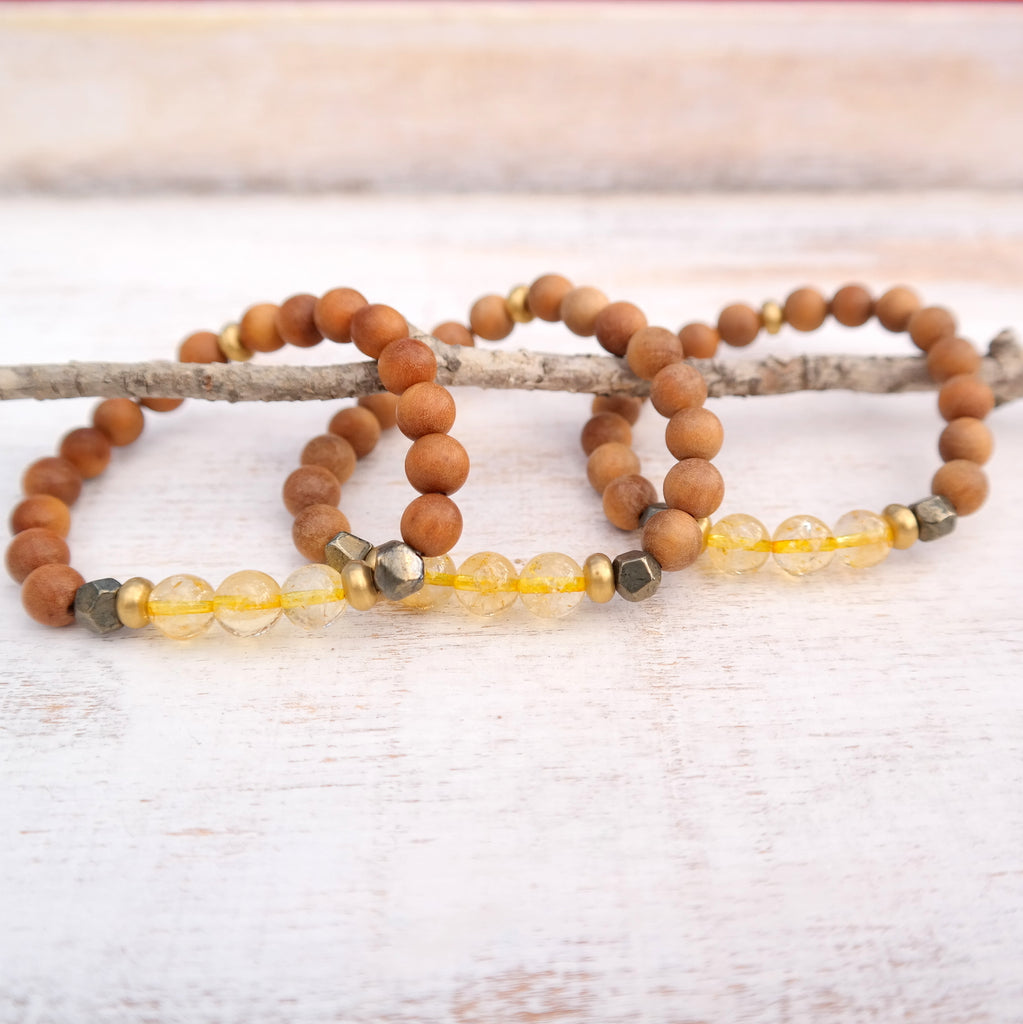 Citrine Bracelet with Sandalwood - Manifestation Bracelet