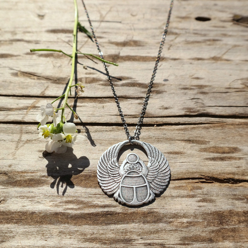 Silver Scarab Necklace - Gypsy Soul Jewellery  - 1