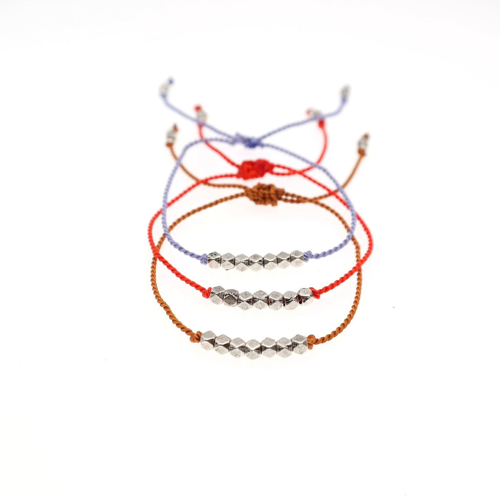 Silk String  Bracelet with silver Beads