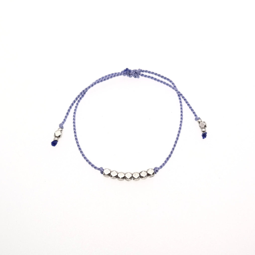 Lavender Silk Cord Bracelet with silver Beads