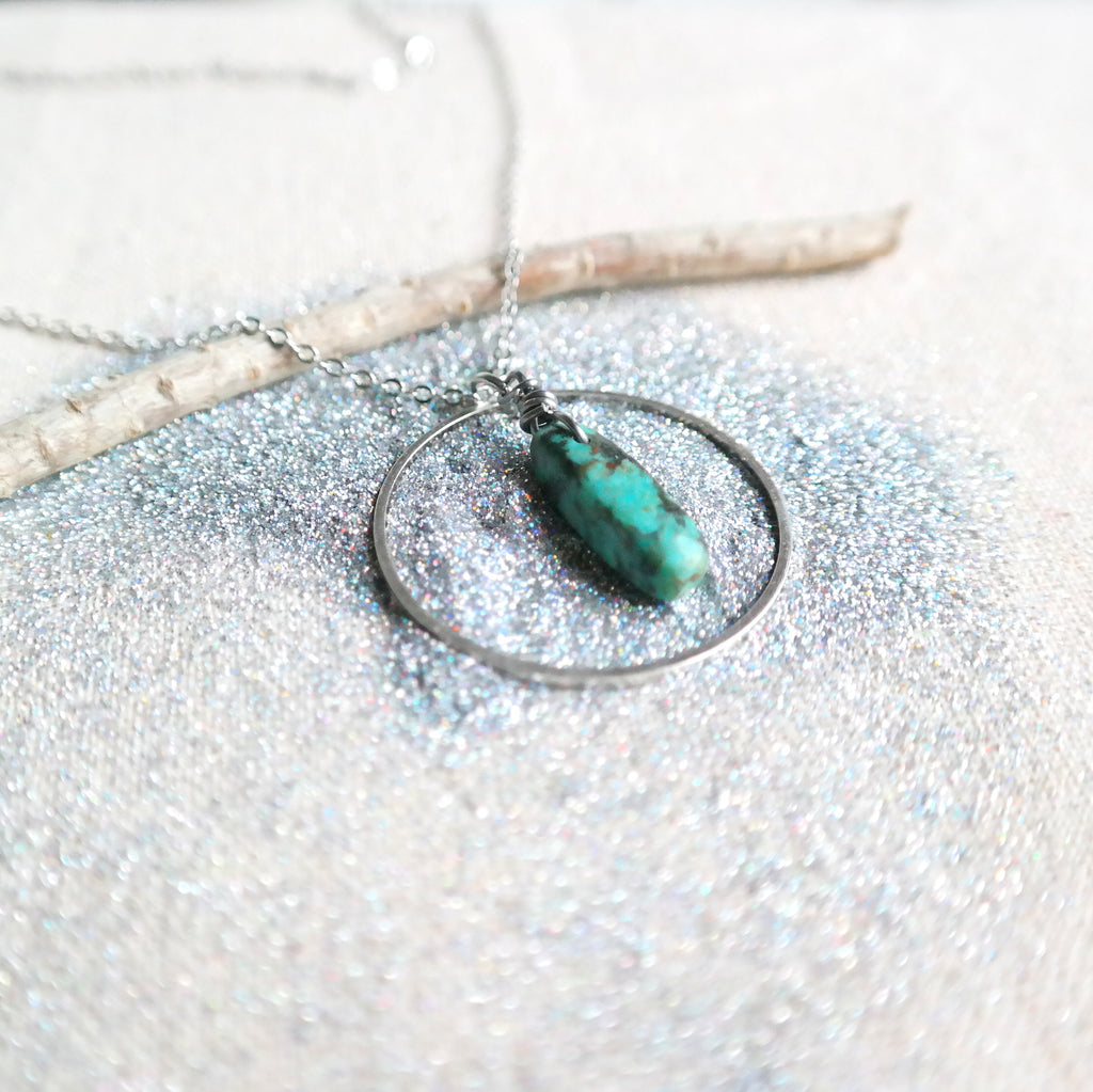 Silver Ring Necklace with African Turquoise Point