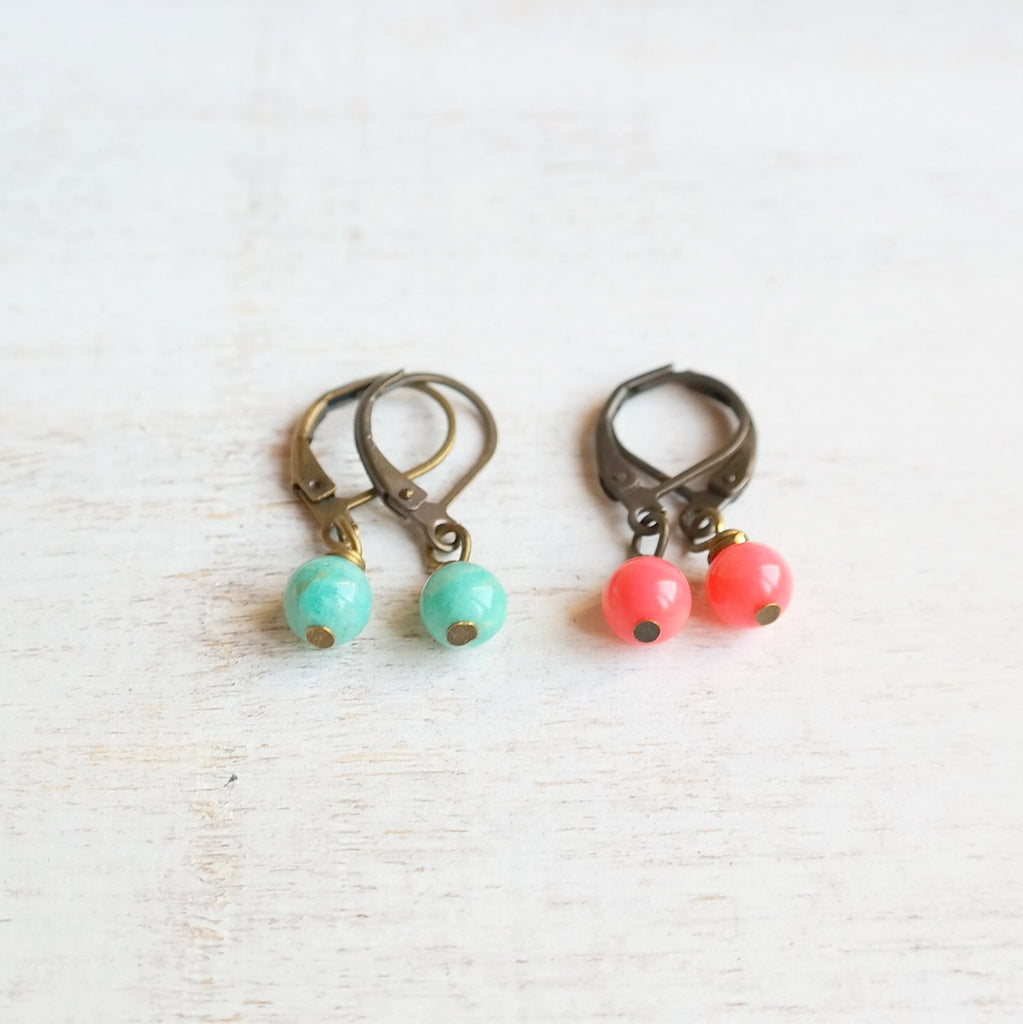 Amazonite and Coral Stone Earrings