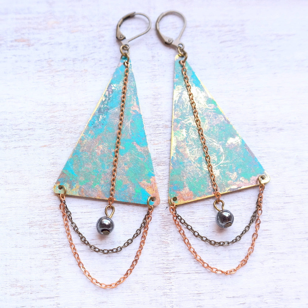 Patina Triangle Earrings - Gypsy Soul Jewellery  - 1