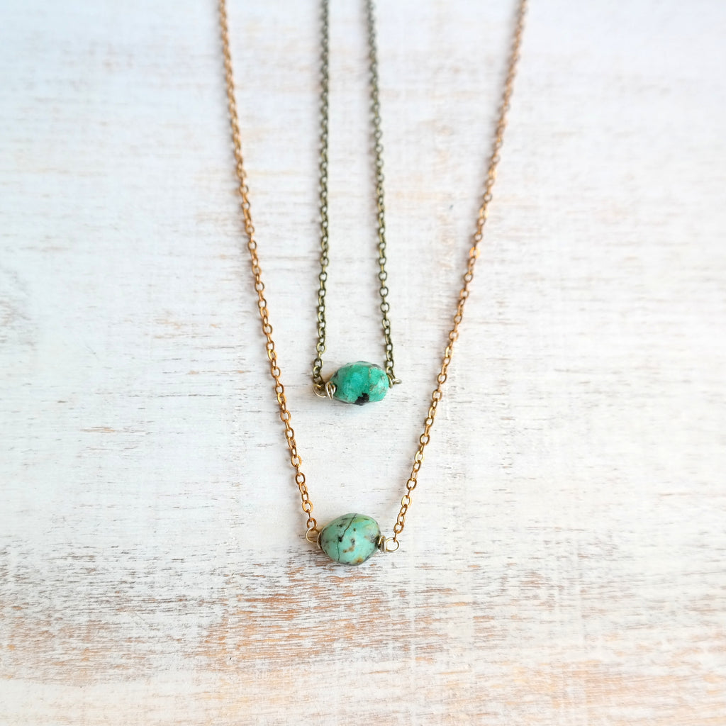 Short Necklace with Turquoise Stone