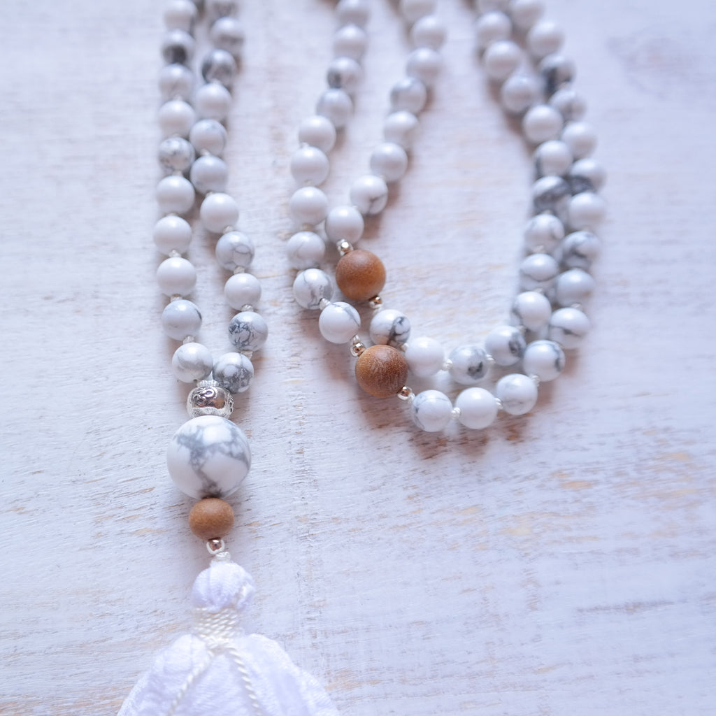 White Howlite Mala Necklace - Calm Mala