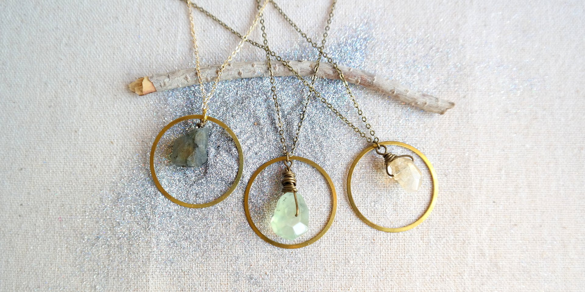 Gold Ring Necklaces with Crystals