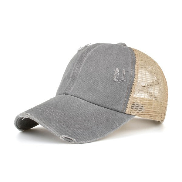 The Chrissy High Pony Hat - Gray & Mustard