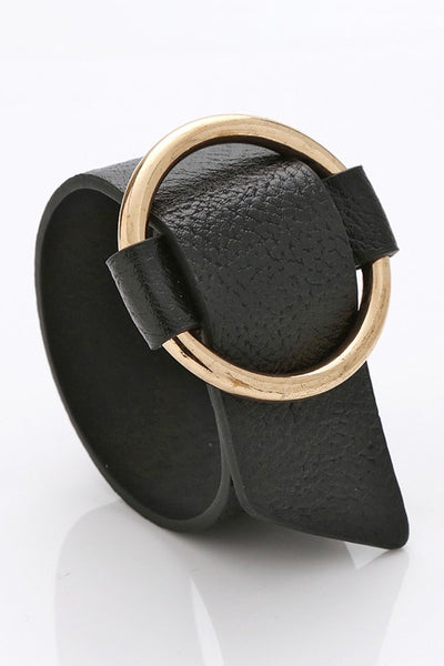 Black Leather Belt Cuff Bracelet