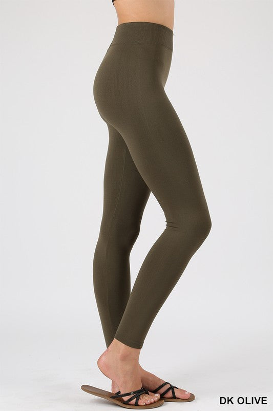 Dark Olive Seamless Fleece Leggings
