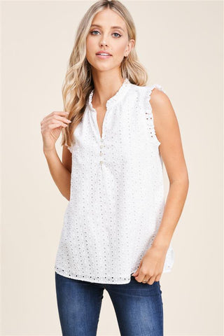 Treat Me Right Eyelet Lace Sleeveless Blouse