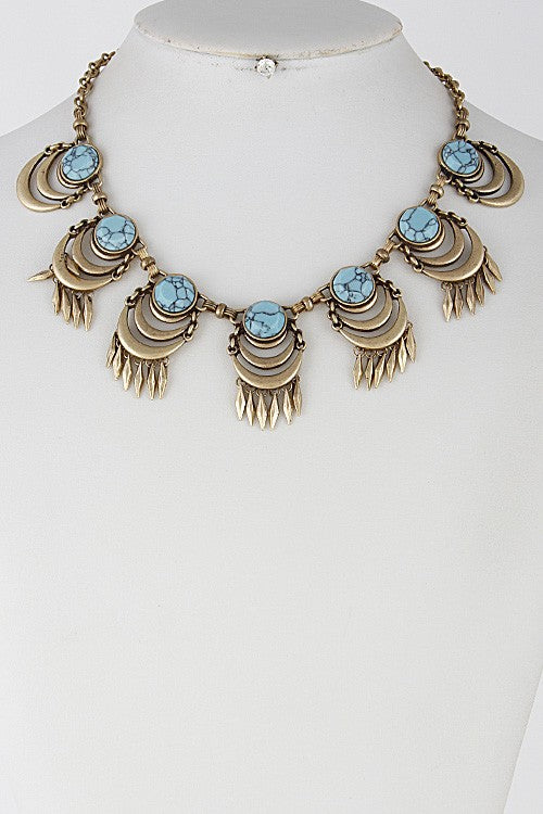 Bronze & Turquoise Statement Necklace