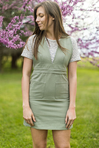 Light Olive Jumper Dress With Cross Back
