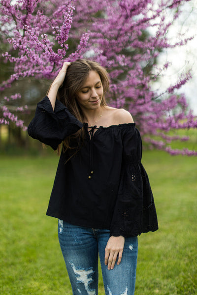 Black Betty Eyelet Lace Off-Shoulder Peasant Top