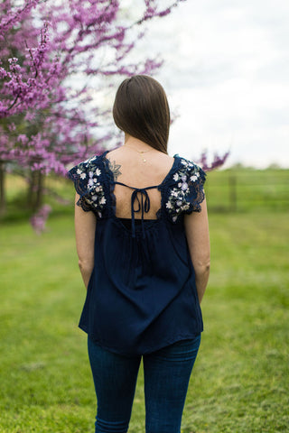 Navy Lace & Floral Embroidered Blouse