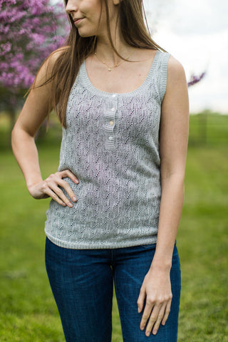 Detailed Knit Layering Tank Top With Henley Button Front