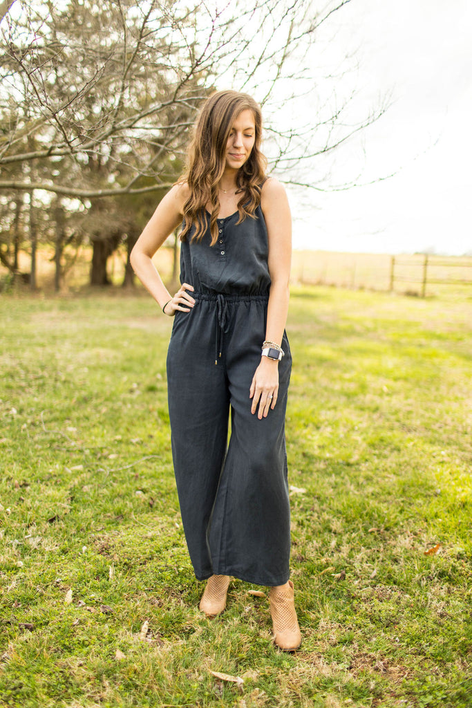 Hop To It Charcoal Wide Leg Jumpsuit